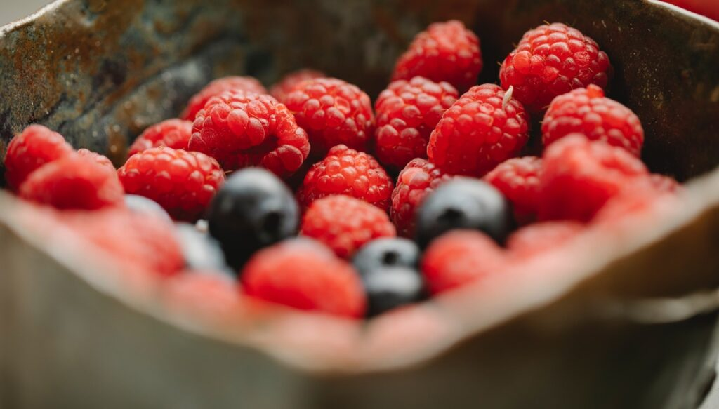 Ovoce - maliny a borůvky